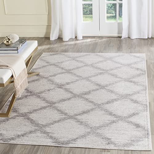 Safavieh Adirondack Collection ADR122B Ivory and Silver Modern Trellis Area Rug 3 x 5