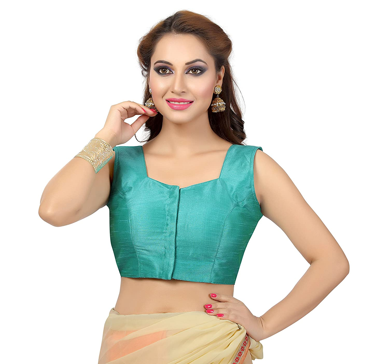 77b973da600ee Readymade Sleeveless Silk Padded bollywood style saree Blouse available in  multiple colors. Select your Favorite color. Fabric  Art Silk