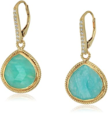 d8387fa36 Image Unavailable. Image not available for. Color: Yellow Gold-Plated Sterling  Silver Green Amazonite Pear-shaped Leverback Earrings ...