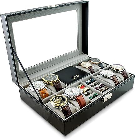 Grinscard Caja de Reloj para Guardar Relojes y Joyas - Negro 32 x 23 x 8 cm - Reloj de Pulsera Presentación Reloj Organizador: Amazon.es: Hogar