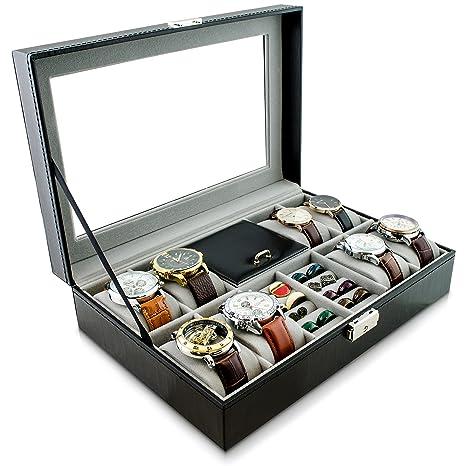 Grinscard Caja de Reloj para Guardar Relojes y Joyas - Negro 32 x 23 x 8