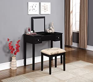 """Linon Home Dcor Linon Black Butterfly Stool Vanity Set with Bench, 36""""w x 18""""d x 30""""h,"""