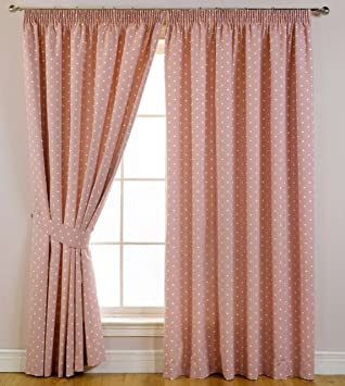 Spotted Dotty Blackout Pencil Pleat Curtains Rose Pink 46
