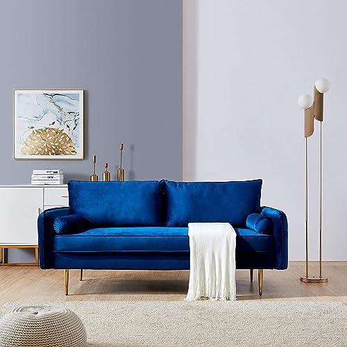 Velvet Fabric Sofa Mid-Century Modern Sofa,Modern Velvet Upholstered Living Room Sofa