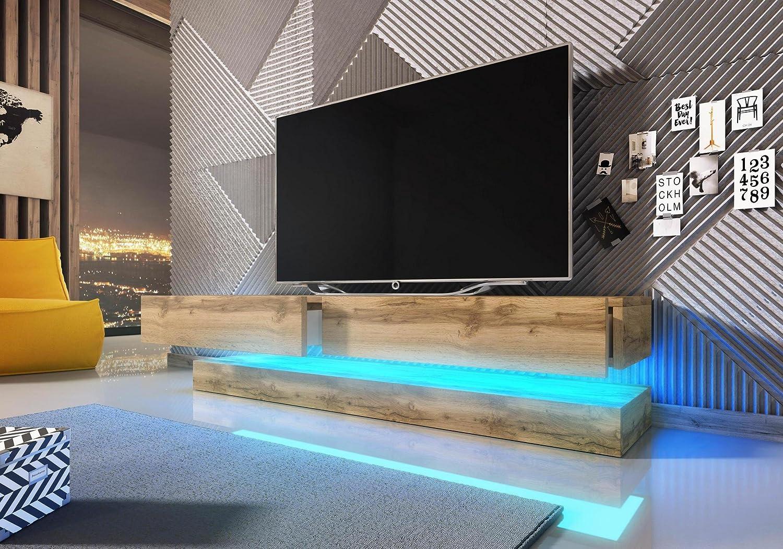 Vivaldi Mobile TV Design Fly Rovere Wotan. Illuminazione a la LED Blu
