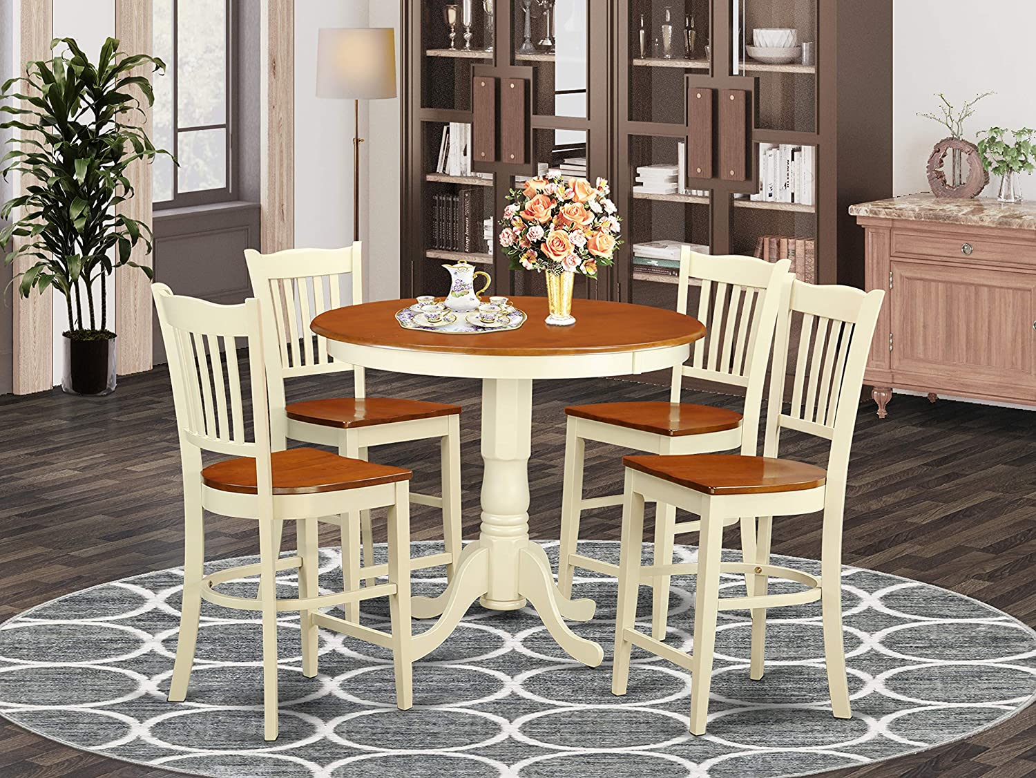 5 PC counter height Dining set-pub Table and 4 bar stools with backs