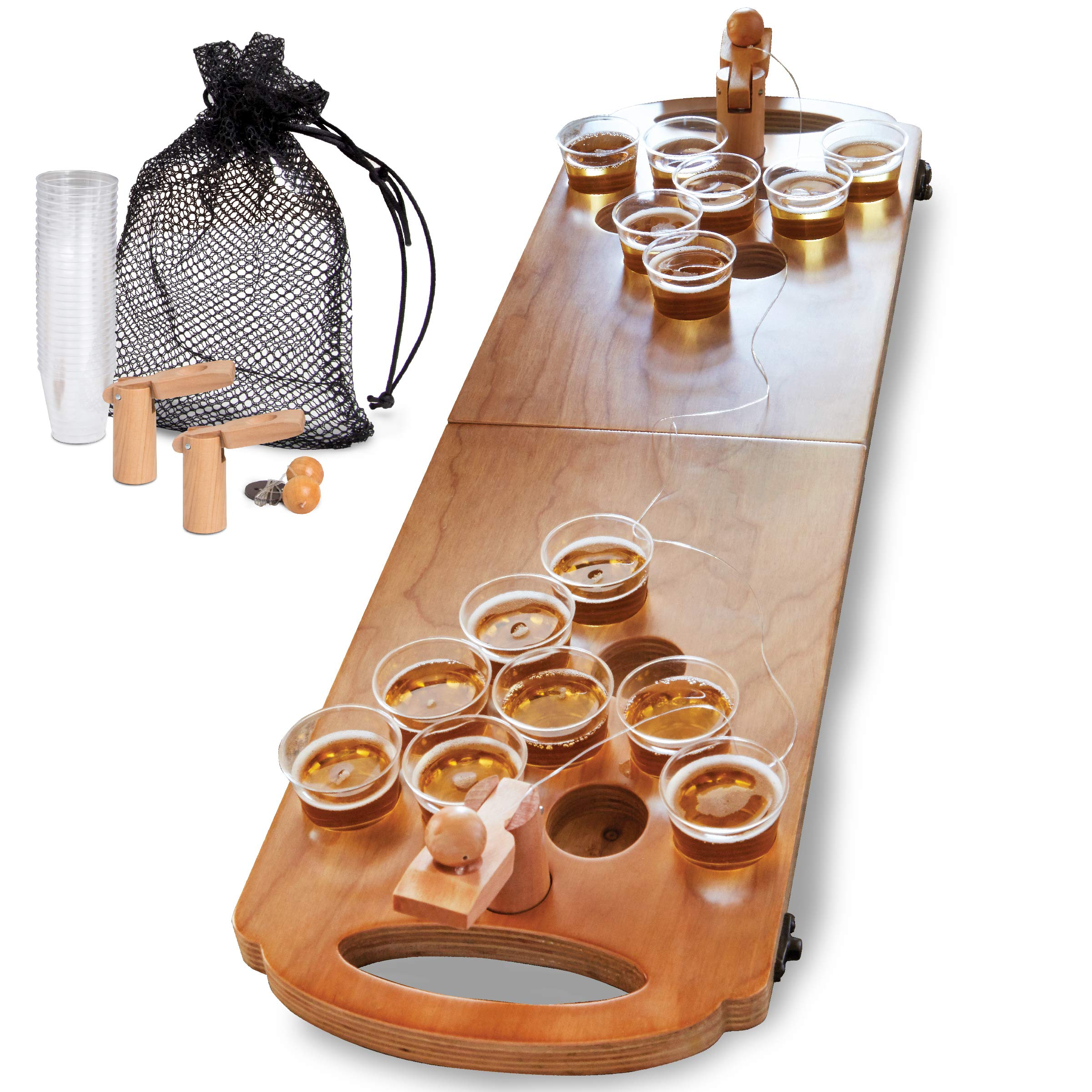 Sharper Image Mini Beer Pong Tabletop Table, 25 Cups, and Balls Set with Holes, Includes Carrying Case/Bag, Portable and Foldable for Indoor and Outdoor Party, Tailgating Games, Pool, College by Sharper Image (Image #1)