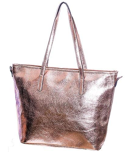 f76b1ac090644 Gadzo Damen schultertasche shopper Rosegold tasche rosegold metallic Shopper  TPUM02