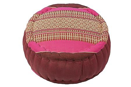 Cojín Zafu para la meditación (35 x 20 cm, cojín con relleno de kapok), rosa y granate