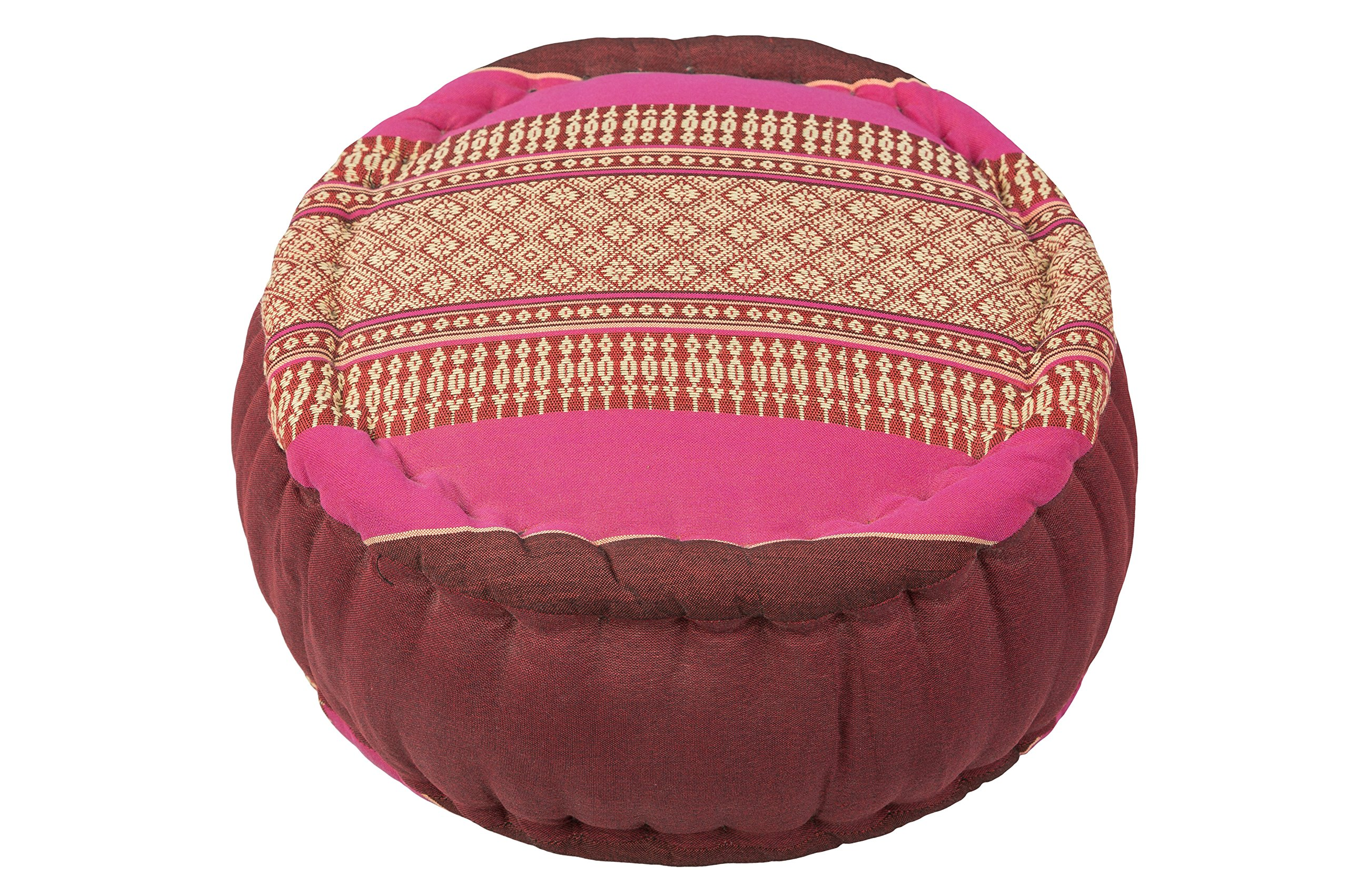 Kapok Dreams ™ Zafu Round Meditation Cushion 100% Kapok, Burgundy Pink Thai Design Pillow