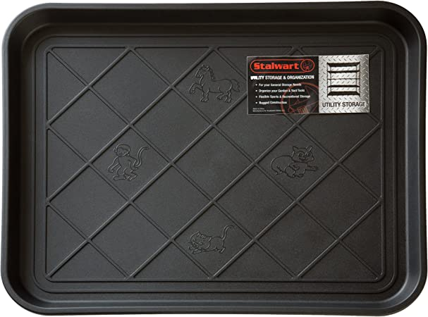 Amazon Com Stalwart 75 St6013 All Weather Boot Tray Water Resistant Plastic Utility Shoe Mat For Indoor And Outdoor Use In All Seasons Black Small Furniture Decor