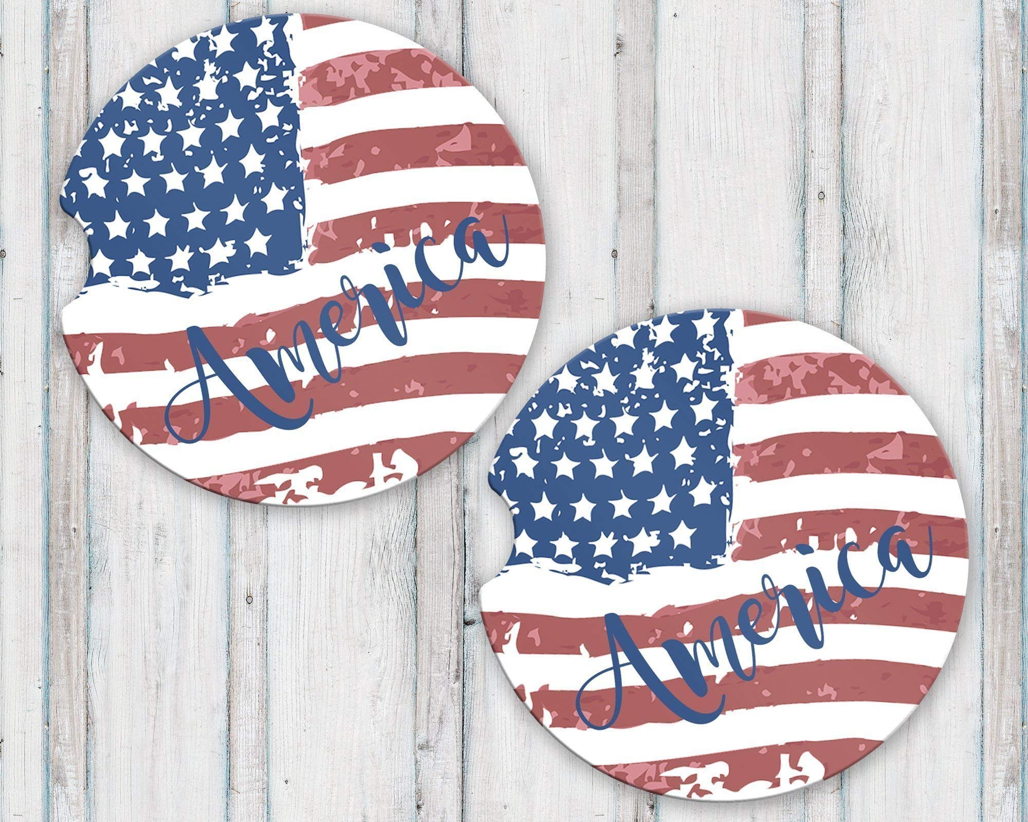 America Sandstone Car Coasters Tattered American Flag Fourth of July 4th Gift for Women or Men
