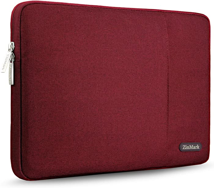 ZinMark Laptop Sleeve 13 Inch Compatible 2019 2018 MacBook Air 13 Inch Retina A1932, 13 Inch MacBook Pro A2159 A1989 A1706 A1708 | XPS 13, Water-Resistant Polyester Notebook Case, Red