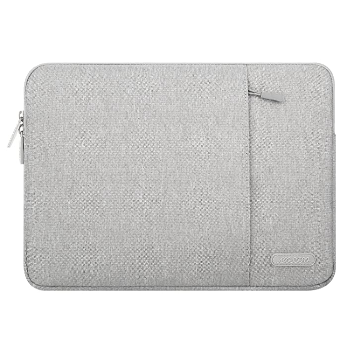 MOSISO Laptop Sleeve Compatible 15-15.6 Inch MacBook Pro, Notebook Computer, Vertical Style Water Repellent Polyester Tablet Bag Protective Case Cover with Accessory Pocket, Gray