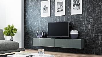 Wohnwand weiß grau hochglanz  TV Board Lowboard Migo Hängeschrank Wohnwand 180cm (Grau Matt ...