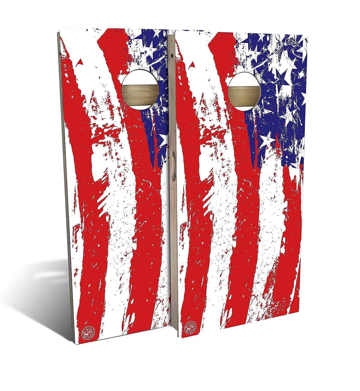 Painted American flag Cornholeボードセット B07883ZPMV