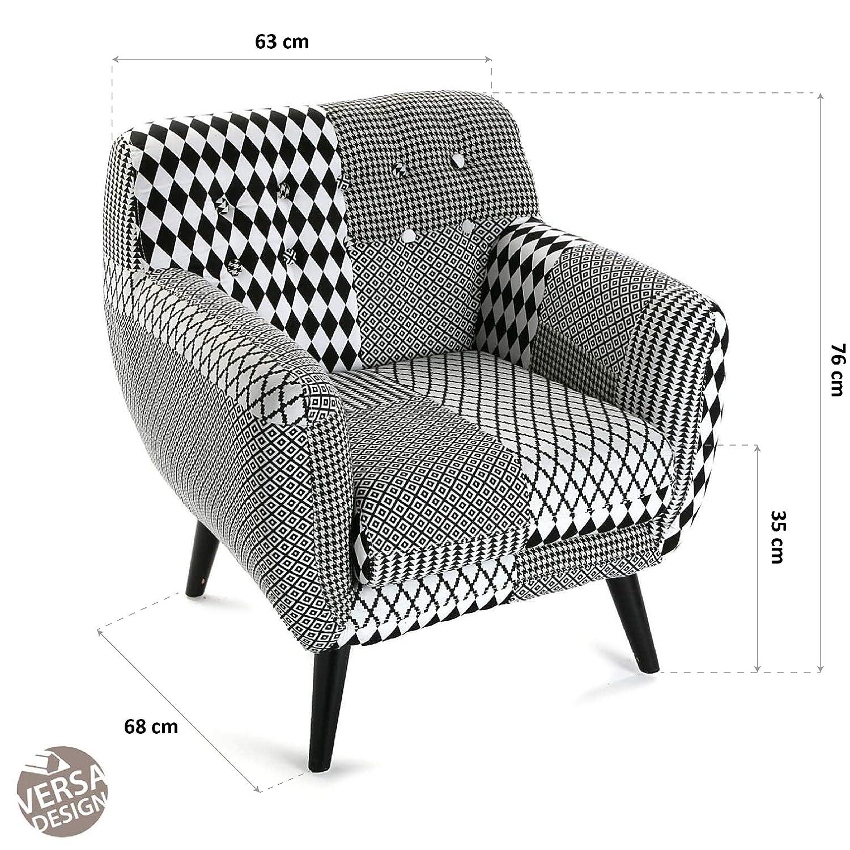 Versa 19501310 Sillón Individual Geométrico, Poliéster, Blanco y Negro, 76X63X68