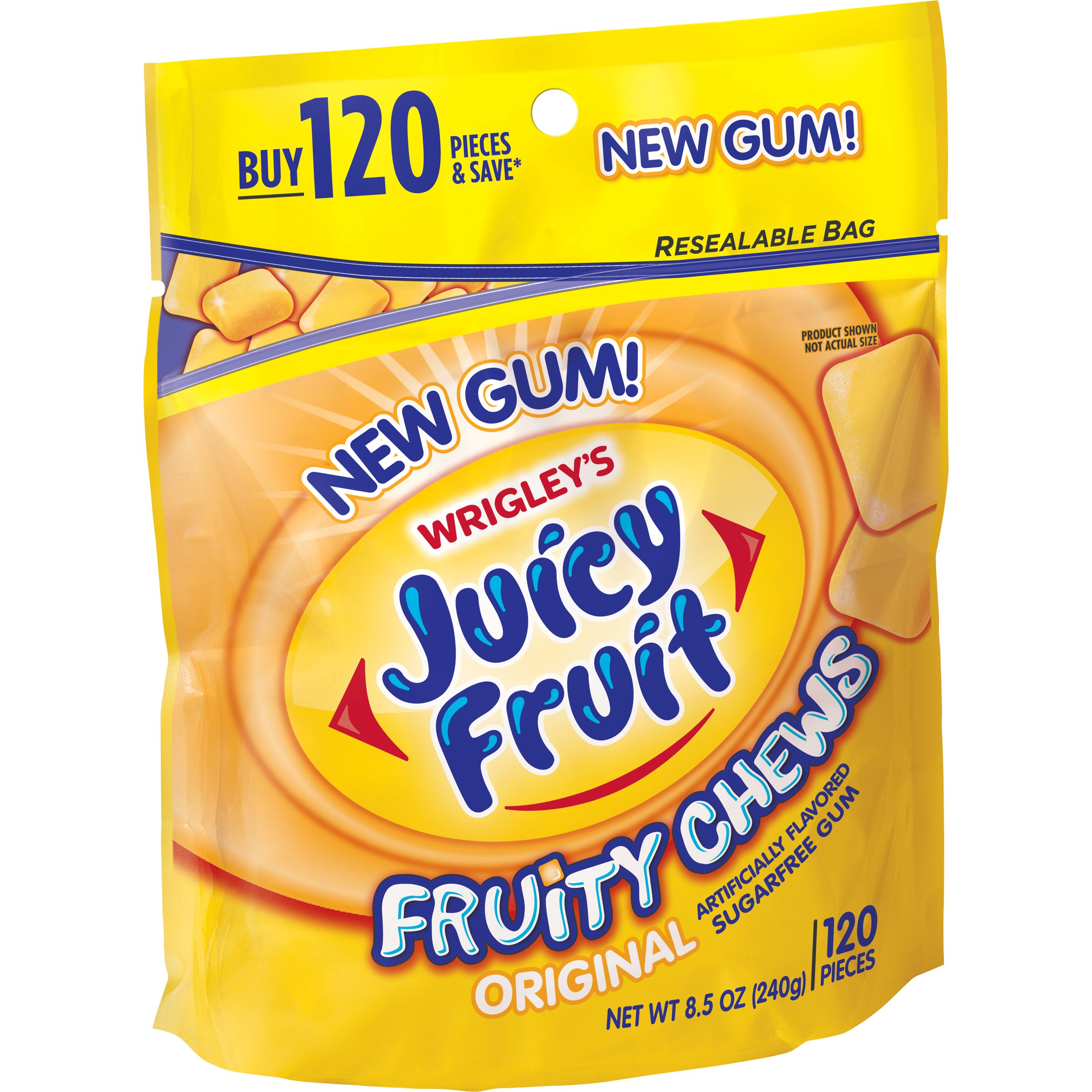 Juicy Fruit Fruity Chews Original Sugarfree Gum, 120 piece bag
