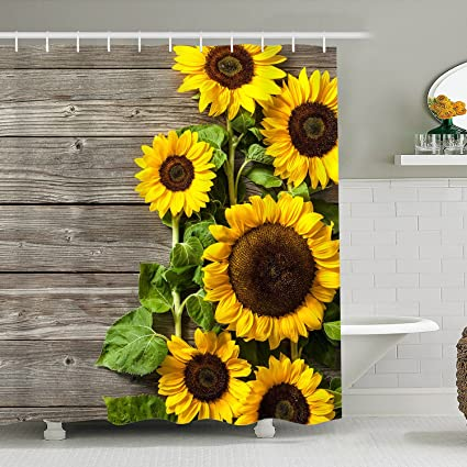 Bathroom Shower Curtain Sunflower Curtains Set 12 Hooks Included Waterproof Durable Fabric Bath