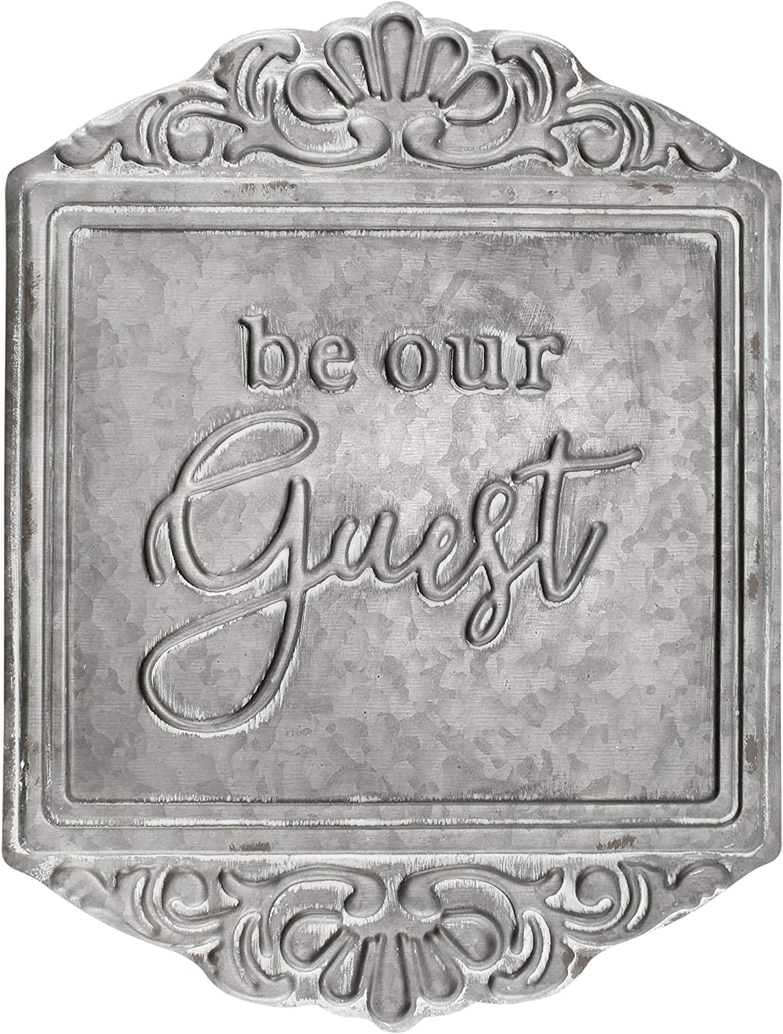 "AuldHome Galvanized Steel Rustic Sign: ""Be Our Guest"", 15 x 11.5 Inch Farmhouse Decorative Wall Decor for Home or Guest Room"