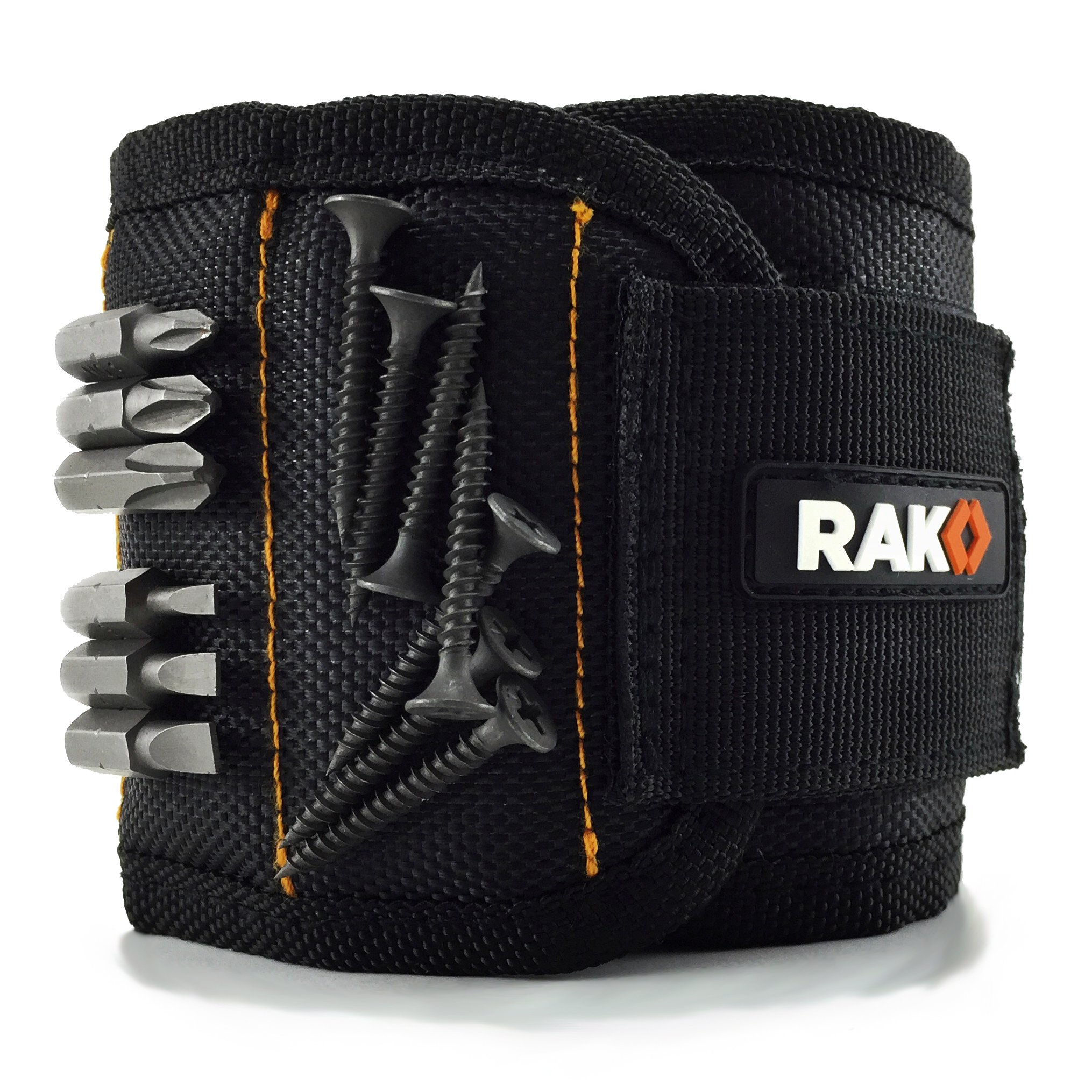 RAK Magnetic Wristband with Strong Magnets for Holding Screws, Nails, Drill Bits - Best Unique Tool Gift for Men, DIY Handyman, Father/Dad, Husband, Boyfriend, Him, Women (Black) by RAK