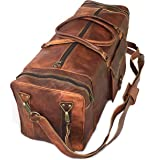 """28"""" Inch Real Goat Vintage Leather Large Handmade Travel Luggage Bags in Square Big Large Brown bag Carry On By KK's leather"""