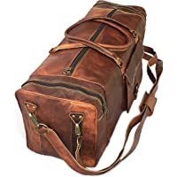28 Inch Real Goat Vintage Leather Large Handmade Travel Luggage Bags In Square Big