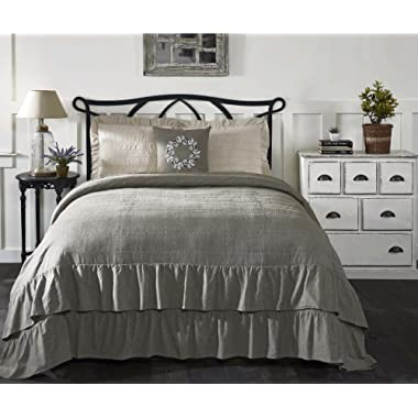 Piper Classics Ruffled Chambray Reversible Luxury King Quilt, Oversized, 105  x 120 , Farmhouse Style Bedding, Taupe-Grey Reverses to Natural