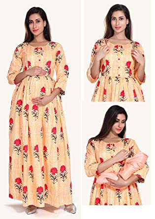 42f3c70d1282e EasyFeed Designer Cotton Printed Maternity/Nursing/Easy Feeding/Gown /Nighty/Breastfeeding/Kurti/Kurta/Dress/with Zippers for PRE and Post  Pregnancy for ...