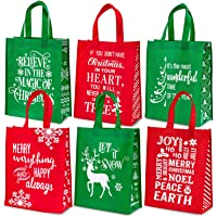 Whaline Christmas Non-Woven Gift Bags Christmas Tote Bags with Handles Red Green Snowflakes Xmas Tree Grocery Bags…
