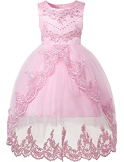 92598bba393 Princess Lace Tulle Dress for Girls Pageant Birthday Party Dresses Ball Gown