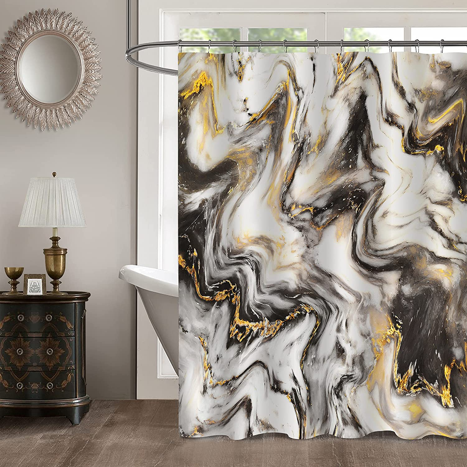MitoVilla Black Gold Marble Shower Curtain Set with Hooks, Abstract Black Gold White Striped Marble Bathroom Decor for Men and Women, Modern Waterproof Fabric Art Decor Shower Curtain, 72
