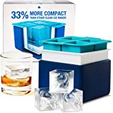 Clear Big Ice Cube Maker - Silicone Mold Trays Makes 4 Large Crystal Ice Cubes - Compact Tray System for Peak 2 Inch Block Wh