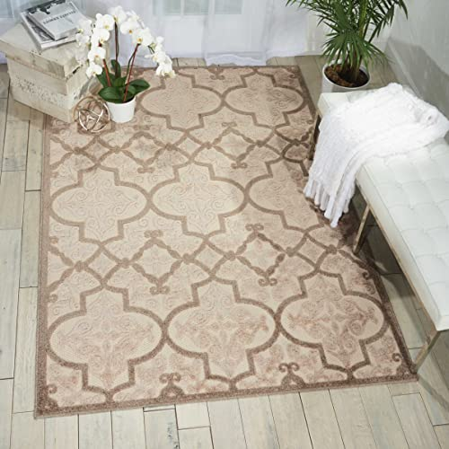 Nourison Aloha Cream Indoor Outdoor Area Rug 9 Feet 6 Inche