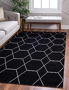 Unique Loom Trellis Frieze Collection Lattice Moroccan Geometric Modern Black Area Rug (8' 0 x 10' 0)