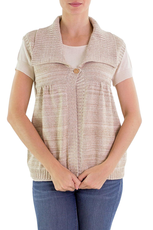 NOVICA Beige Natural Cotton Sweater Vest, 'Cappuccino'