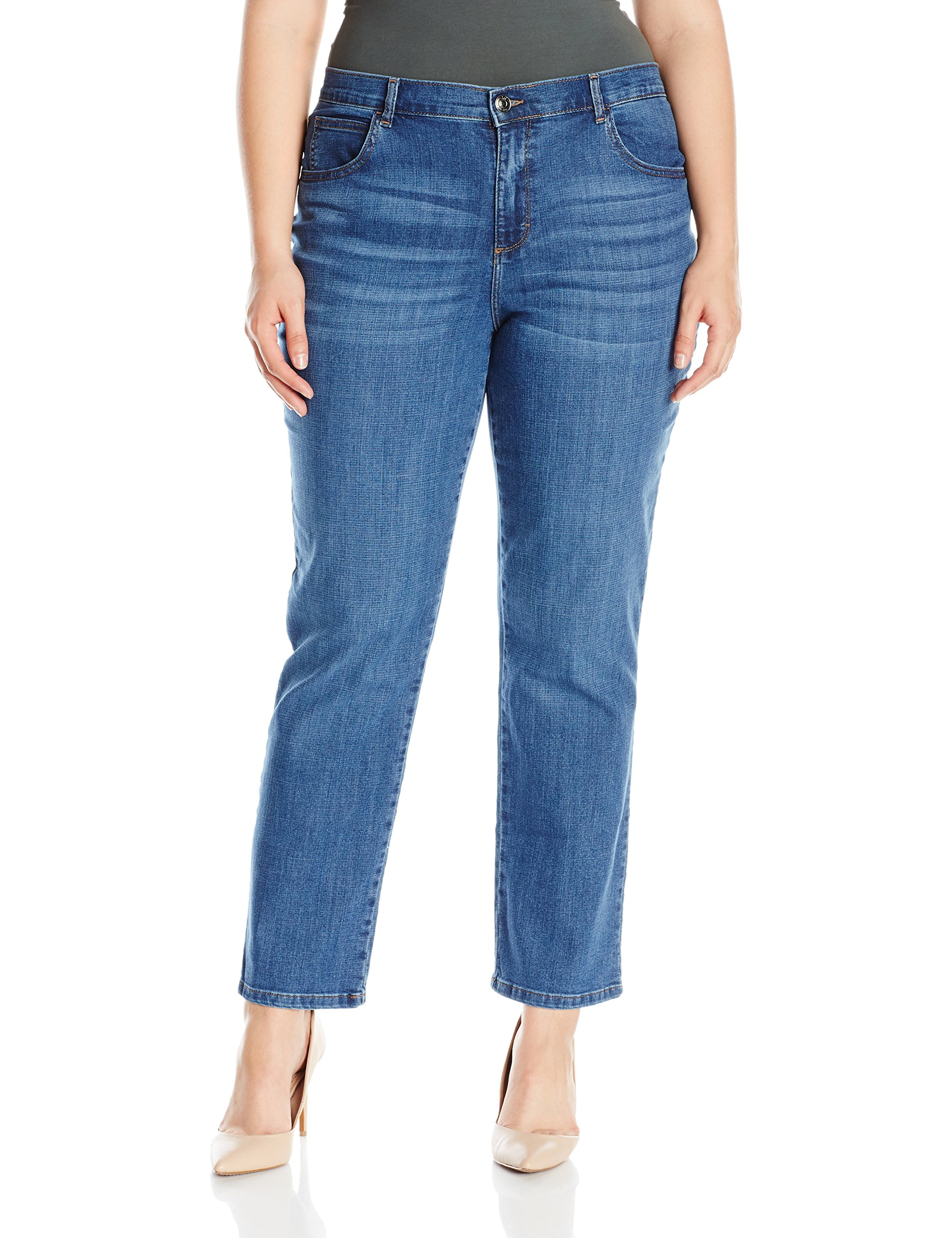 LEE Women's Plus-Size Relaxed Fit Straight Leg Jean, Meridian, 30W Medium