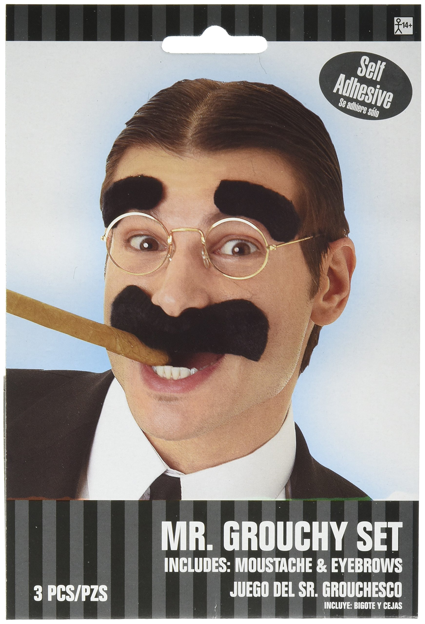 Wacky Mr. Grouchy Facial Hair Set, Moustache and Eyebrows, Self Adhesive, 2 piece
