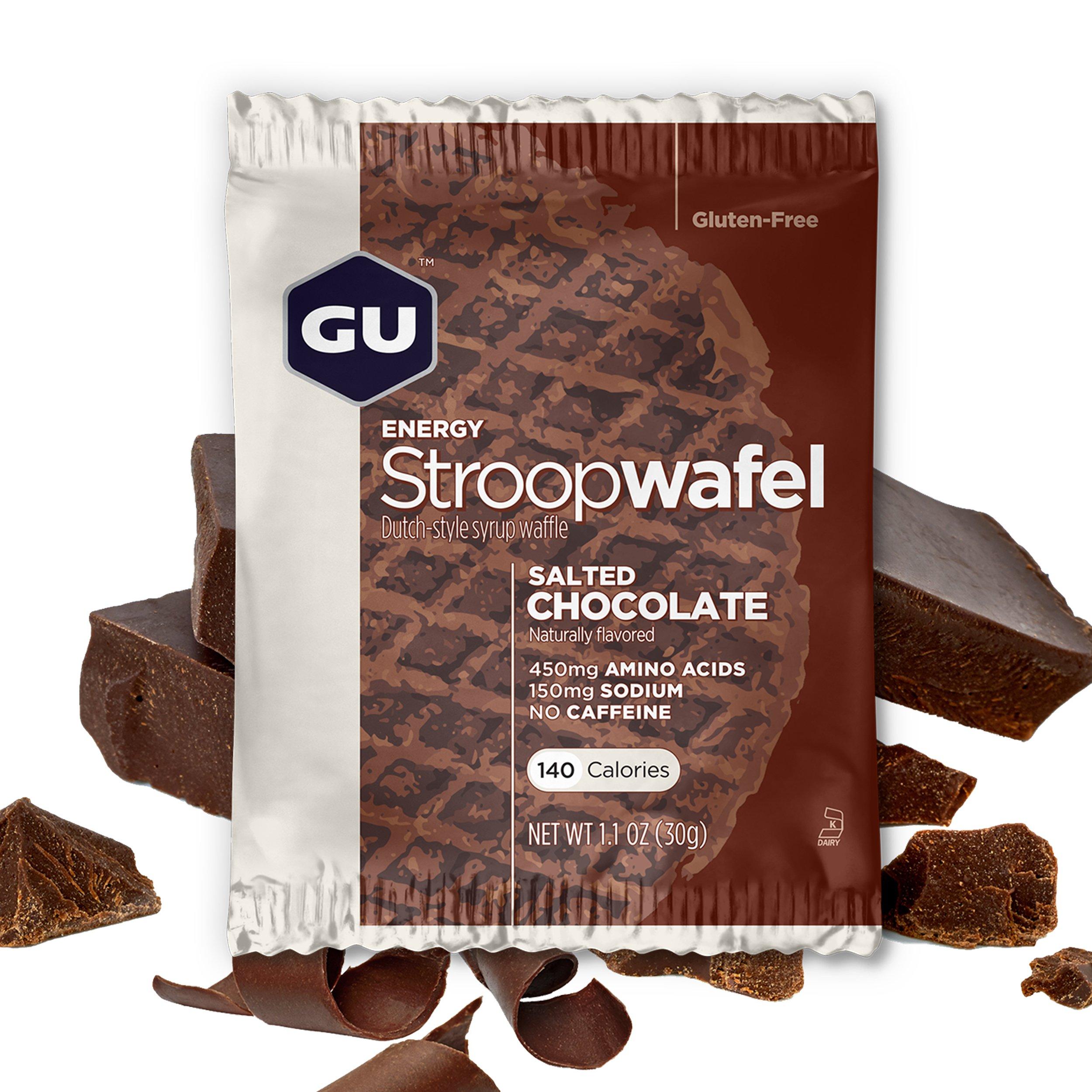 GU Energy Stroopwafel Sports Nutrition Waffle, Gluten Free Salted Chocolate, 16-Count