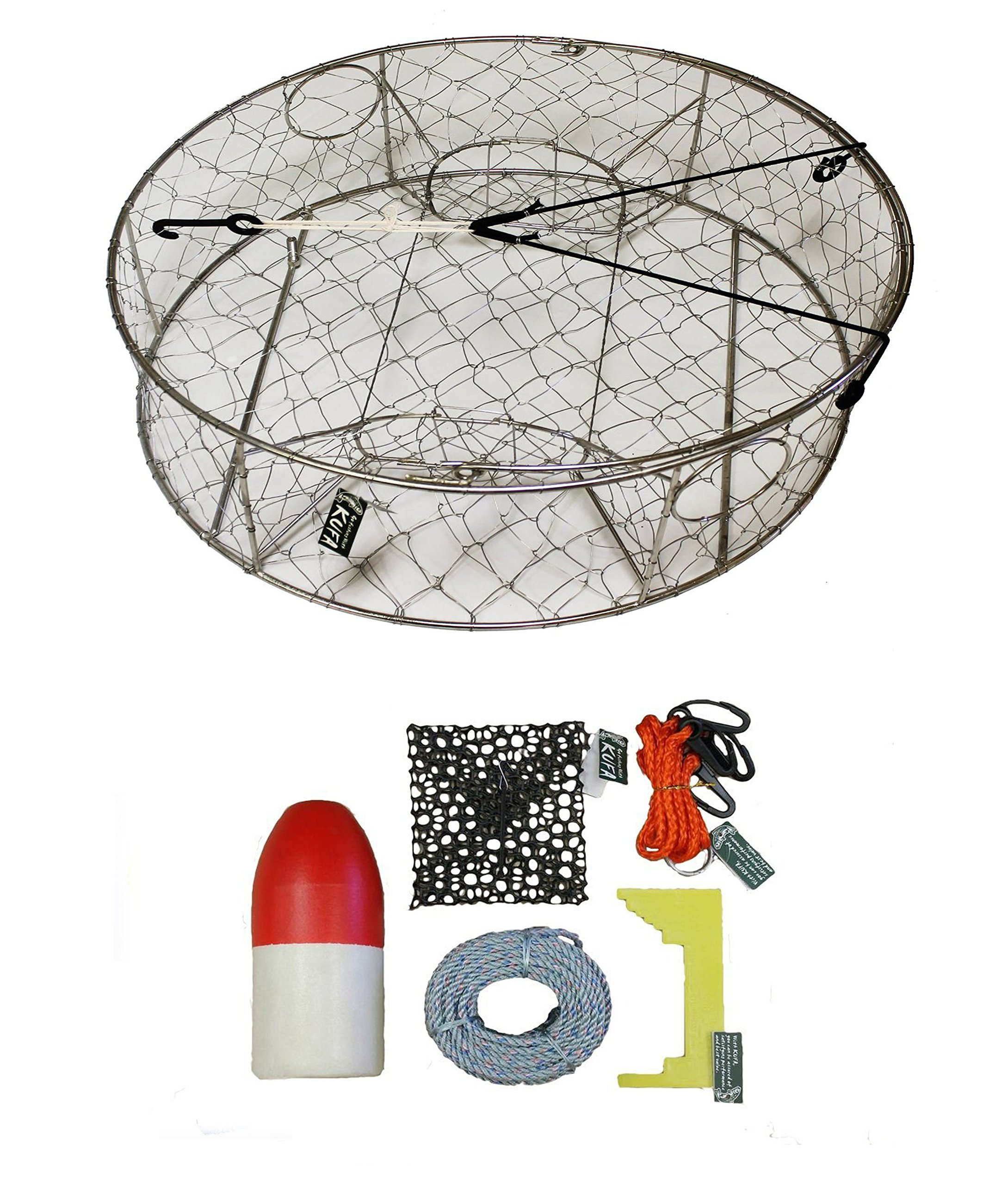 KUFA Stainless Steel Crab Trap with Zinc Anode & Accessory Kit (100' Lead CoreRope, Clipper,Harness,Bait Case & 14'' Red/White Float) CT100+CAC3+ZIN1