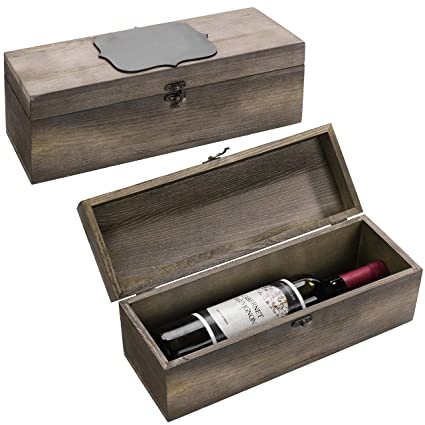 Mygift Set Of 2 Rustic Wooden Wine Gift Box Carrying Case With Chalkboard Label