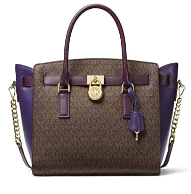 adb7e2809216 Amazon.com: MICHAEL Michael Kors Studio Hamilton Large East West Satchel  (Brown/Damson/Iris): Shoes