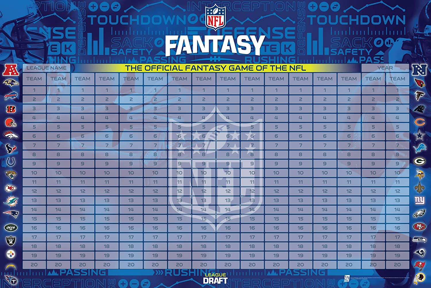 Amazon Com Nfl Officially Licensed Fantasy Football Draft Kit