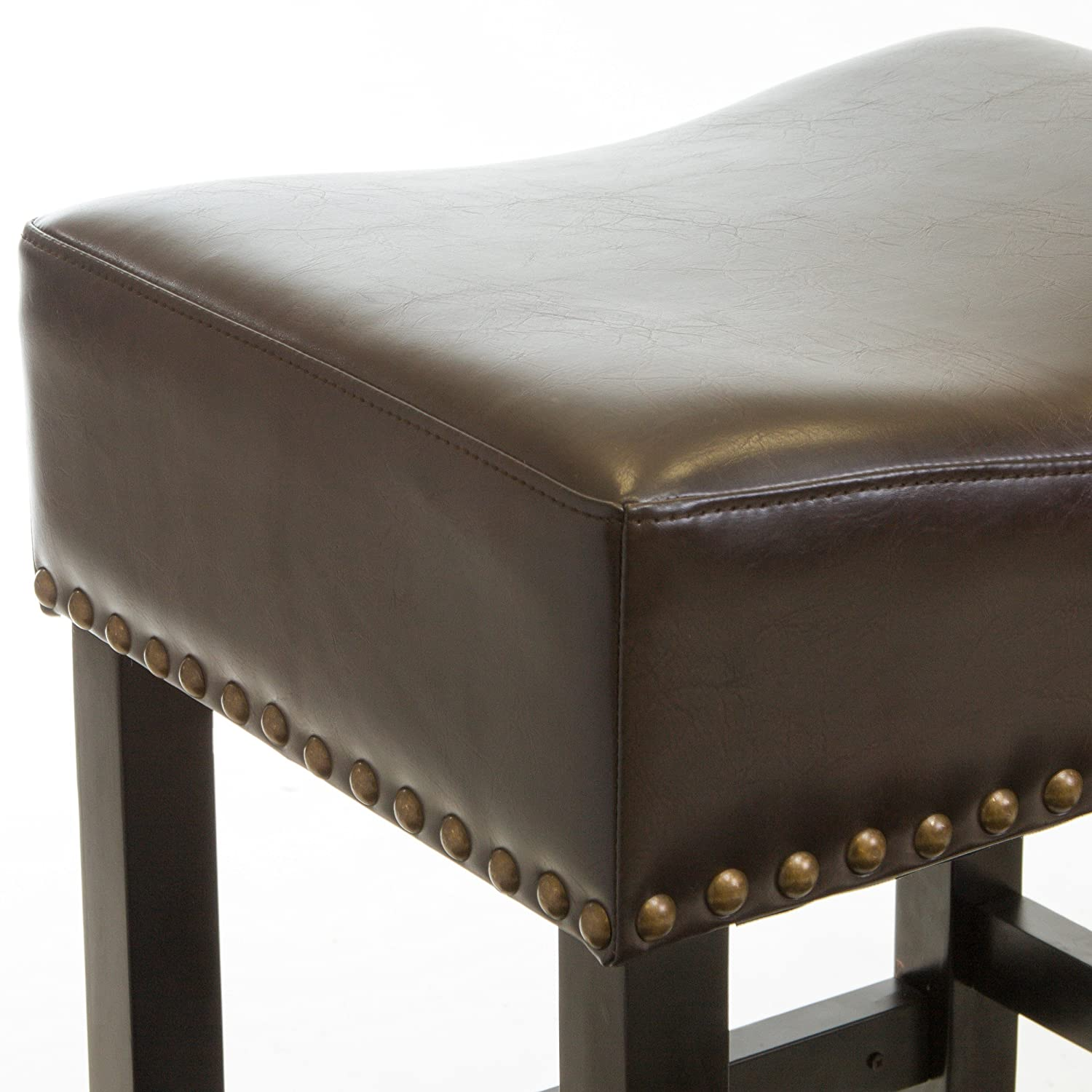 Best Selling Lisette Brown Leather Backless Counter Stool Set of 2 Heavy Metal Inc.--DROPSHIP 635832AZ