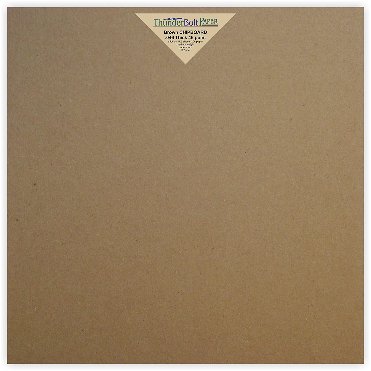15 Sheets Chipboard 46pt (point) 12 X 12 Inches Heavy Weight Scrapbook Size .046 Caliper Thick Cardboard Craft|Packaging Brown Kraft Paper Board by ThunderBolt Paper TBP