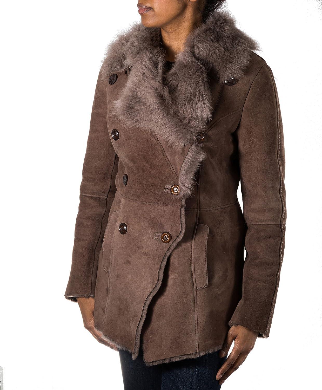 A to Z Leather para Mujer de Piel de Oveja Suede Negro Abrigo de Invierno de Piel. Doble Botonadura de Piel de Oveja Merina.: Amazon.es: Ropa y accesorios