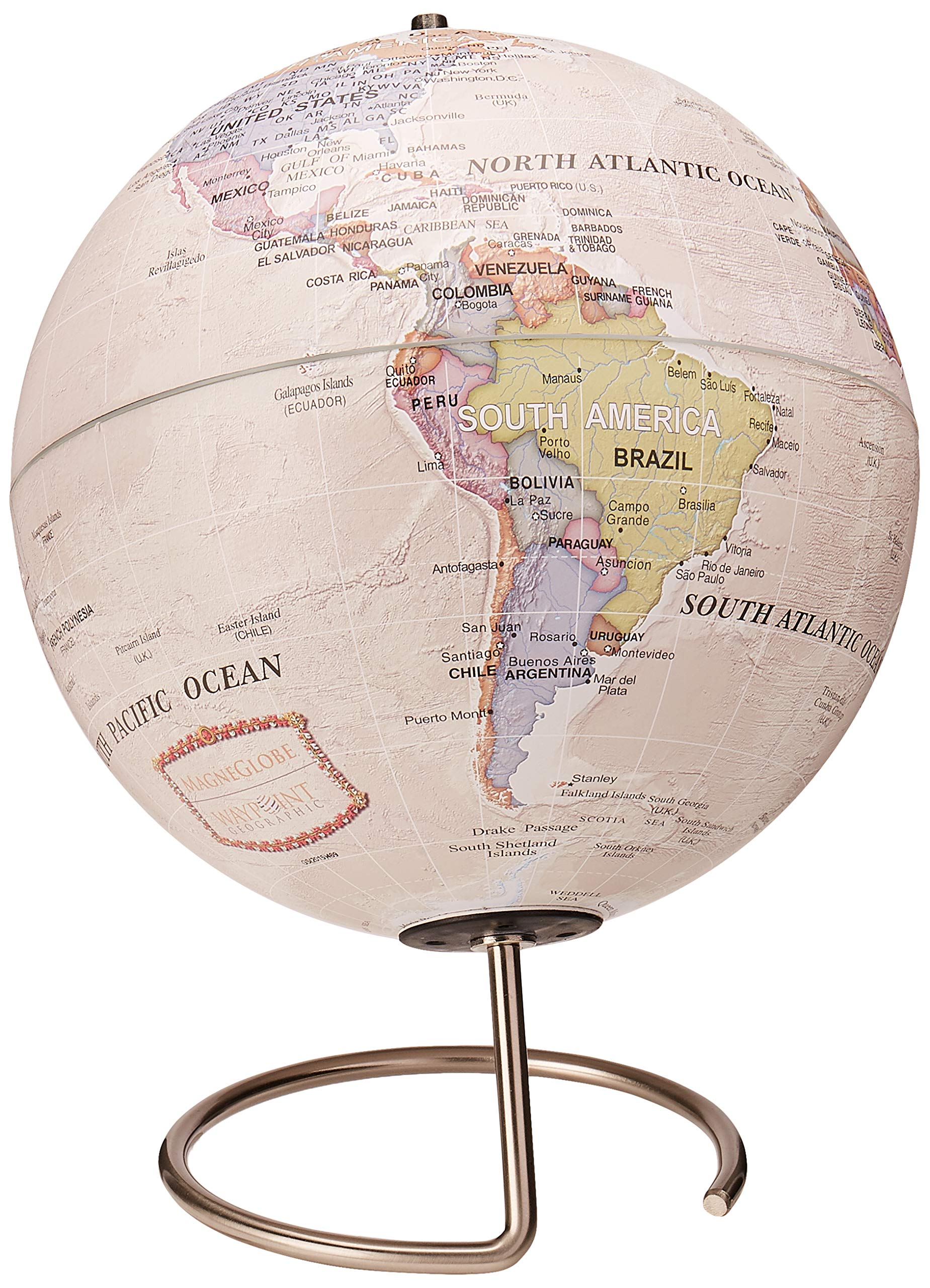 Waypoint Geographic Magneglobe Date World Globe with Stand-Includes 32 Magnetic Pins for Marking Travels and Fun Points of Interest (Classic Ocean)