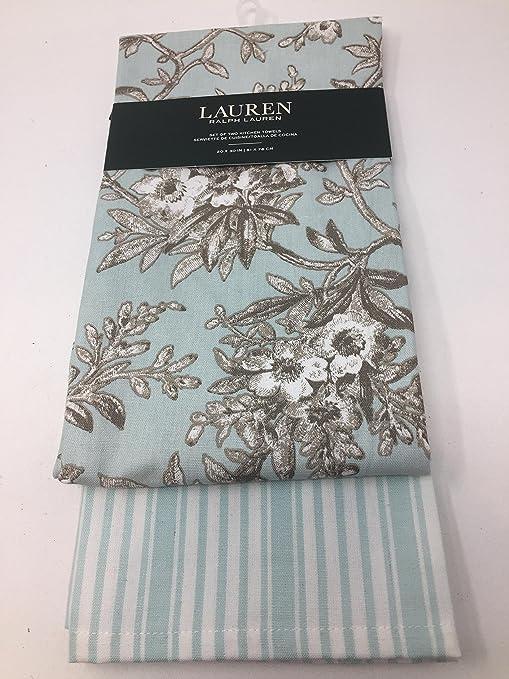 Ralph Lauren Lauren Azul/marrón Estampado Floral y Rayas té Juego de Toallas de Cocina