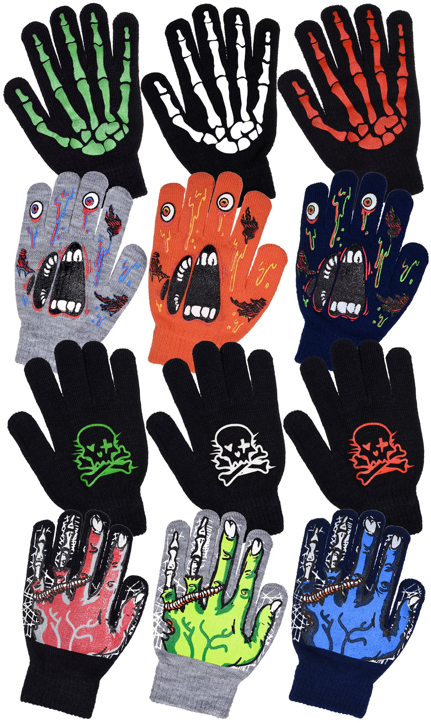 Boys Scary Skeleton & Monster Knit Glove Sets in 6 Creepy Styles and Colors (B2264 Skull/Crossbones White)