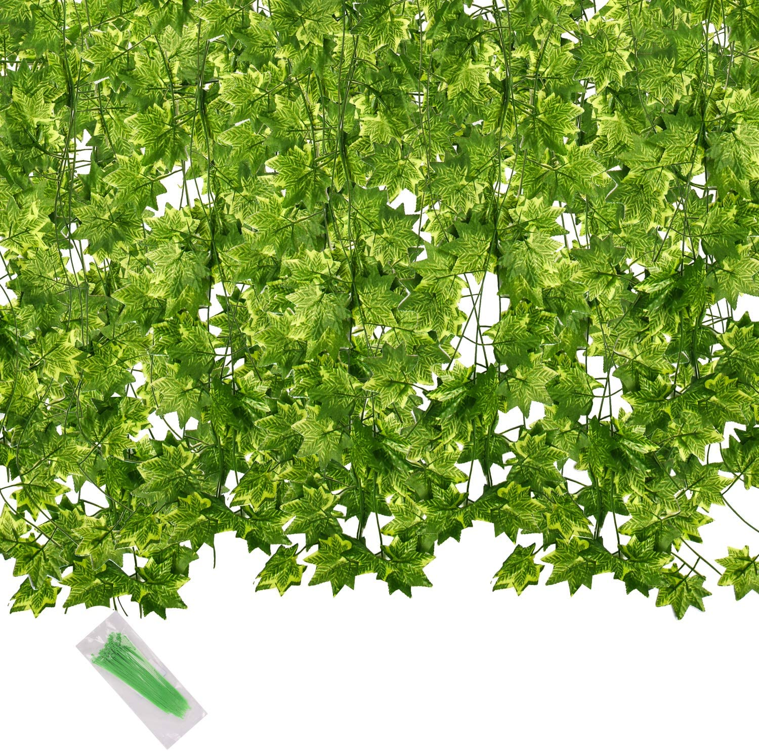 Artificial Green Maple Leaf, 78.7Ft 12 Pack Hanging Vines Garland Fake Maple Leaves Plants Fake Foliage Flowers Fake Greenery Decor for Home Kitchen Garden Office Wedding Wall Party Decoration